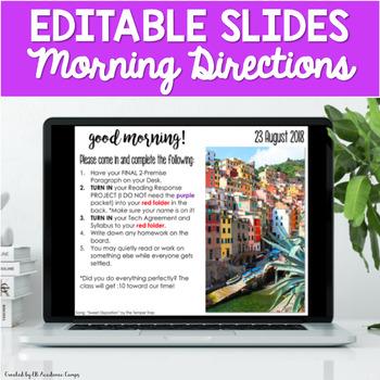 Morning Slides Directions EDITABLE