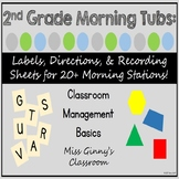 Morning Station Tubs 2nd Grade: Labels, Directions, and Recording Sheets