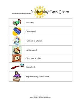 Morning Task Chart for Homeschool Girls {FREEBIE}