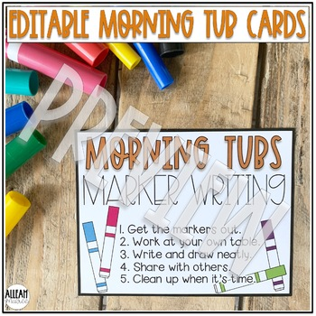 Morning Tub Cards - Editable Labels and Directions