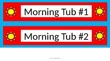 Morning Tub Labels - Dr. Seuss Tribute Colors - Wide - Rising Sun