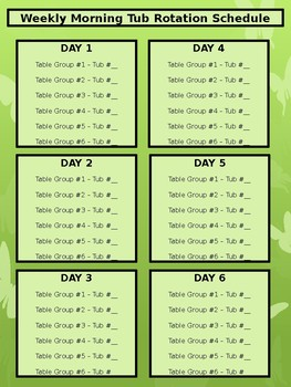 Morning Tub Rotation Schedule - Butterfly Theme