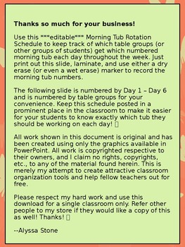 Morning Tub Rotation Schedule - Coral Butterfly Theme