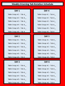 Morning Tub Rotation Schedule - Dr. Seuss Tribute Colors