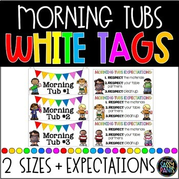 Morning Tubs Tags | Morning Tubs Labels | Classroom Morning Tubs | White Tags