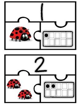 Morning Tubs: Ladybug Number Puzzles