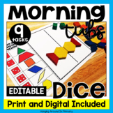 EDITABLE Morning Tubs   Math Centers with Dice   Digital and PDF