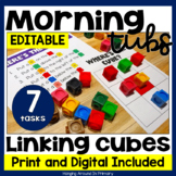 EDITABLE Morning Tubs | Math Centers with Linking Cubes |