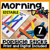EDITABLE Morning Tubs | Math Centers with Popsicle Sticks