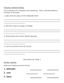 Morning Warm Up Packet