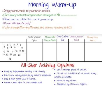 Morning Warm-Up SMART Board Slide