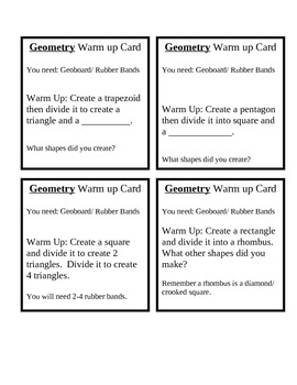 Morning Warm Up Task Cards (Math)