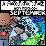 Back to School (September) Morning Work Notebook Unit 1 Kindergarten