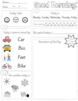 Morning Work: 1 sheet, use over and over. GREAT for SPED!