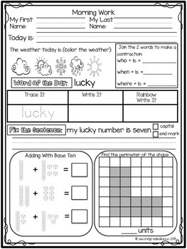 1st Grade Morning Work for Math and ELA