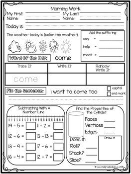 1st Grade Morning Work Math and ELA