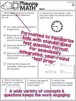 3rd Grade Morning Work / 3rd Grade Math Homework - NOVEMBER