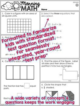 3rd Grade Morning Work / 3rd Grade Math Homework - JANUARY
