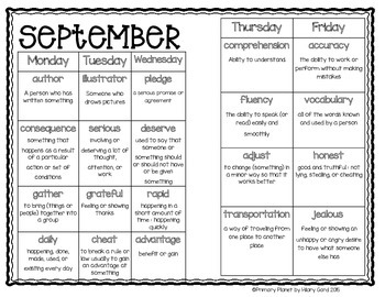 September Number and Word of the Day Morning Work Calendar Activities