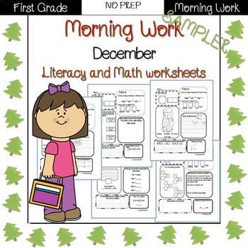First Grade Morning Work {December} Sampler