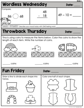 Morning Work 1st Grade {March}