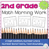 Morning Work: 2 Digit Addition, Number Line & Number Bond Teens, Teen Rounding