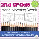 Morning Work: 2 Digit Addition, Number Line & Number Bond Teens, Teen Rounding