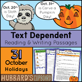31 October Reading Passages - Writing Prompts -Text Dependent - Google Classroom