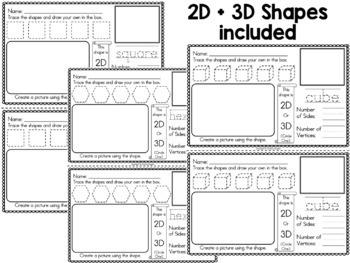 2D and 3D Shapes Half Sheets or Mini-Book