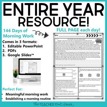 Morning Work 3rd Grade: Print and Digital   Homework 3rd Grade   Google Slides