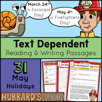 31 Daily Reading Passages & Writing Prompts for May National Days –Text Evidence