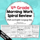 4th Grade Math ELA Morning Work - Spiral Review - Back to School