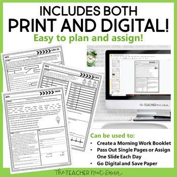 Morning Work 4th Grade: Print and Digital | Homework 4th Grade | Google Slides