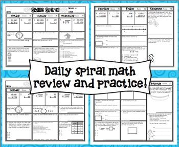 4th Grade Math: Skills Spiral (2nd Quarter)