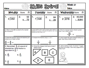 4th Grade Math Skills Spiral (3rd Quarter)