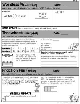 Math Morning Work 4th Grade {FREE}