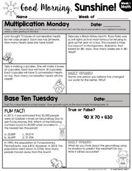 Math Morning Work 4th Grade {February}
