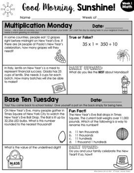 Math Morning Work 4th Grade {January}