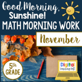 Math Morning Work 5th Grade {November}