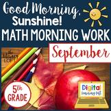 Math Morning Work 5th Grade {September}
