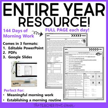 Morning Work 6th Grade | 6th Grade Digital Morning Work Google Slides