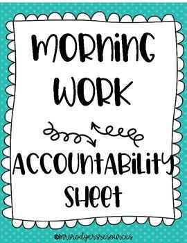 Morning Work Accountability Sheet