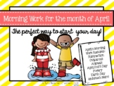 Kindergarten Morning Work April