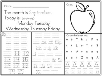 Kindergarten Morning Work start September