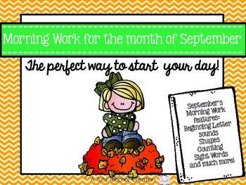 Kindergarten Morning Work September
