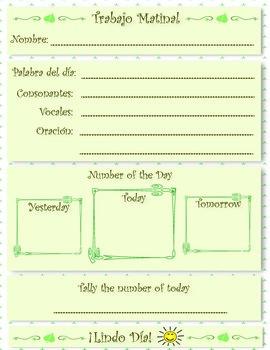 Morning Work Activity - Bilingual