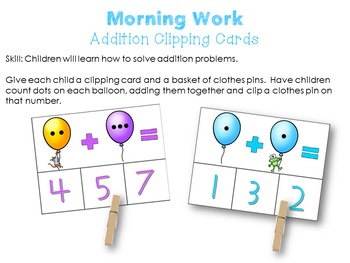 Morning Work Addition Clipping Cards