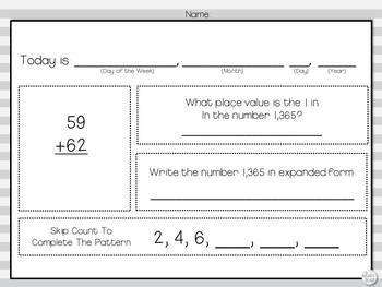 Morning Work: Addition w/ Regrouping, Place Value, Expanded Form, Skip Counting