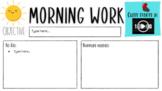 Morning Work Agenda Slide - Customizable
