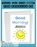 Morning Work Binder:Basic Skills, Autism, Special Ed, EDITABLE
